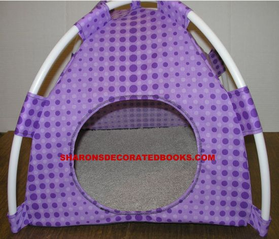 Large Handmade Purple Polka Dot Print Fabric Pup Tent Pet Bed for cats/ dog/ / toy box/  Doll House on Etsy, $28.00