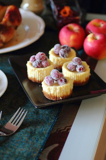 Mini Cheesecakes with Sugared Cranberries by adventuressheart #Cheesecake #Cranberry