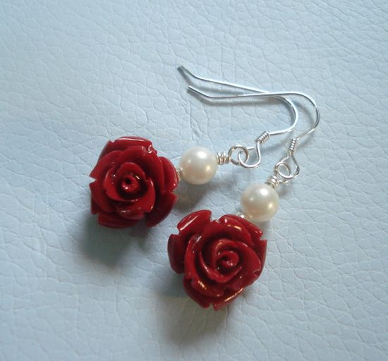 Elegant Bridal JewelryRed color Rose Pearl by SunVDesigns on Etsy