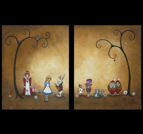 Alice in Wonderland Original Whimsical Art Fairytale Painting