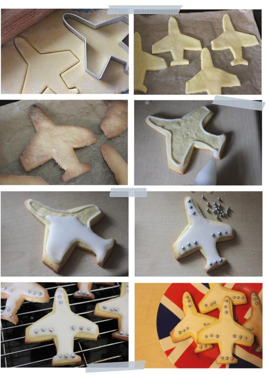 Pieday Friday – Iced sugar biscuits.   Using Plane Cookie Mold, Vehicle Plane Ship Train Car Set Cookie Cutters.  Handmade craft idea DIY