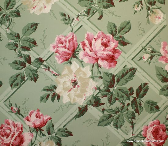 1940's Vintage Wallpaper Large Pink and White by HannahsTreasures