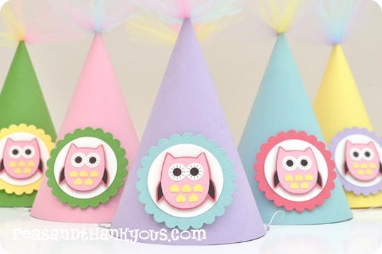 owl birthday hats