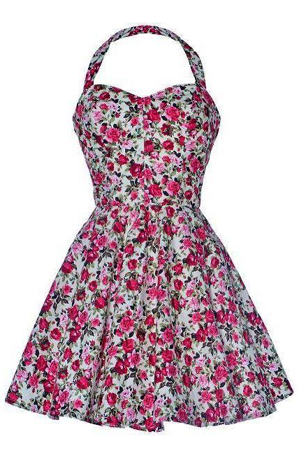 Vintage Style Rose Print Party Dress