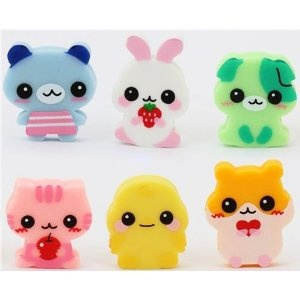 6 cute baby animals erasers from Japan kawaii