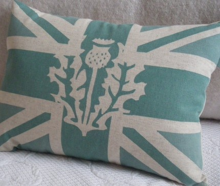 union jack thistle cushion