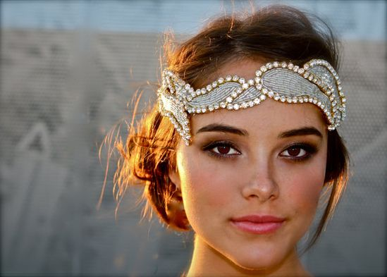 Crystal and Glass Bead Headband- Apollo (silver with gold)