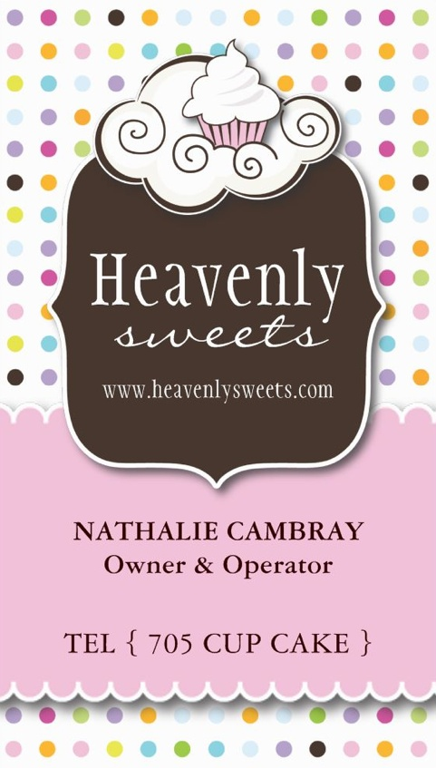 Fully customizable cupcake business cards. Designed by Colourful Designs Inc.
