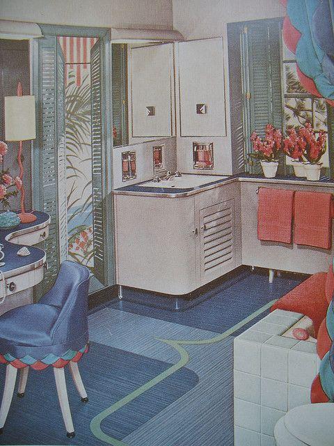 bathroom, 1950s