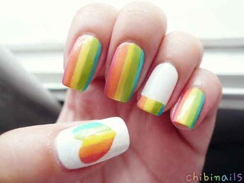 rainbow/candy nails.