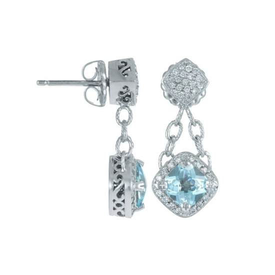 14K White Gold Earrings with Blue Topaz (2.5 ct) & Diamonds