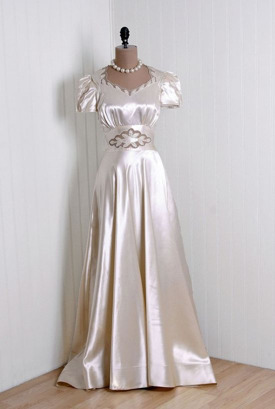 1930s Ivory Silk-Satin Wedding Dress with Appliques, Puff-Sleeves and  Decorative Neckline