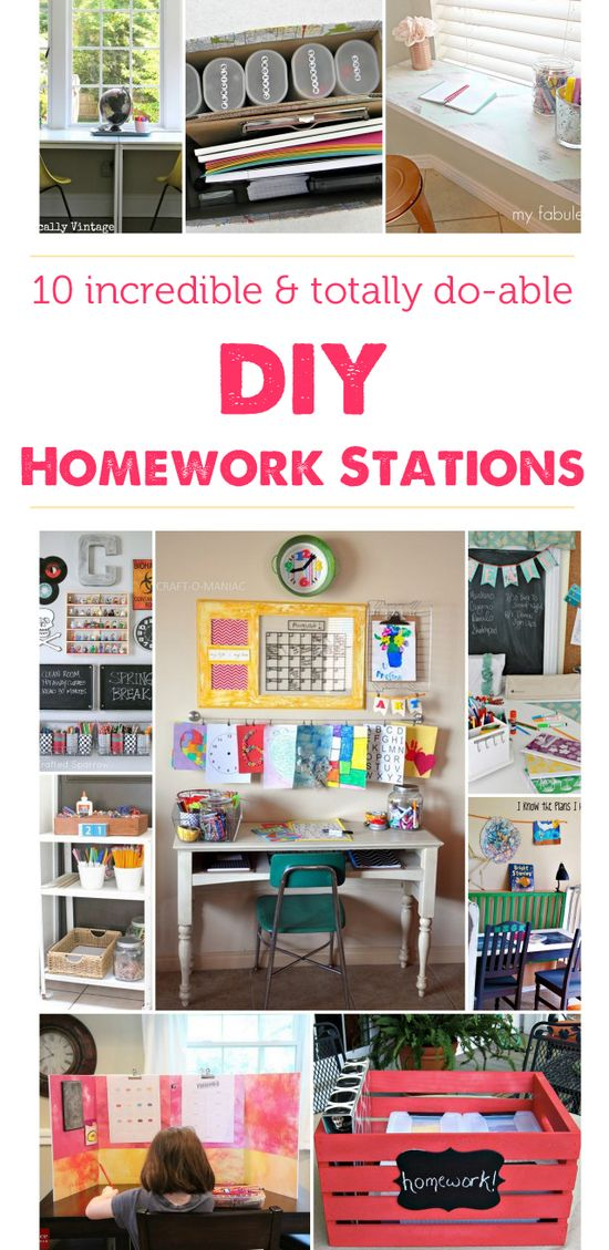 Lots of ideas on how to set up a homework station in your home - just what we need!