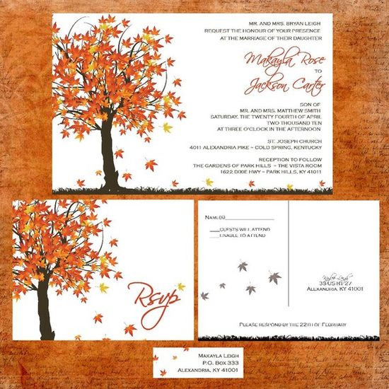 Cute autumn wedding invitation