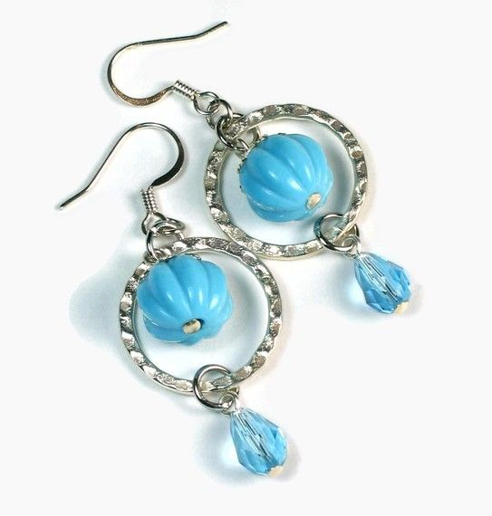 Modern Earrings, Aqua Blue Earrings. $12.00, via Etsy.