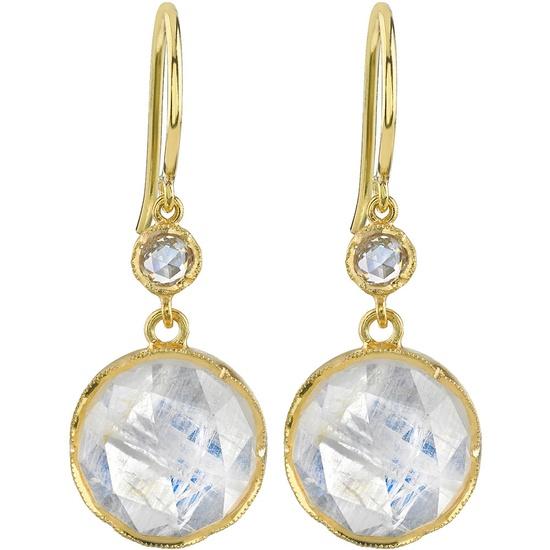 Rainbow Moonstone Drop Earrings by Irene Neuwirth #Earrings #Moonstone #Irene_Neuwirth
