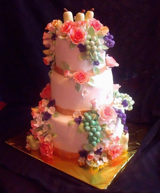 Fruit And Flowers Still Life Themed Tiered Fondant Birthday Cake with Pears, Grapes, Roses, Rose buds main view by tanyacakes, via Flickr