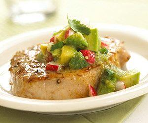 Pork chops w/ avocado salsa