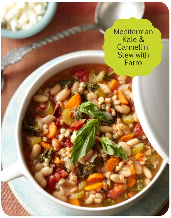 Learn how to make Mediterranean Kale & Cannellini Stew with Farro on Delish Dish: www.bhg.com/...