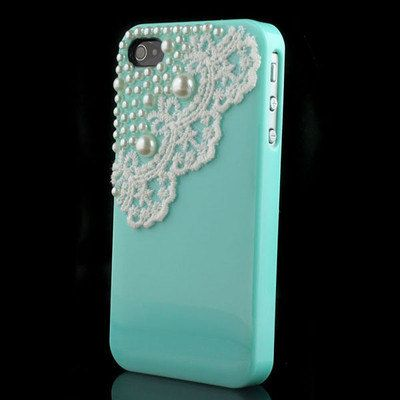 PREORDER iPhone 4 and iPhone 4S Tiffany Blue Pearls and by VD5555, $16.98
