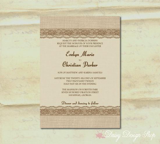 Wedding Invitation  Burlap and Lace