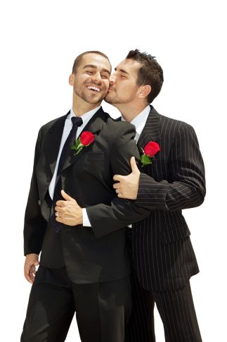 I love this! The pop of red on the suits is awesome ... but the kiss is the best.