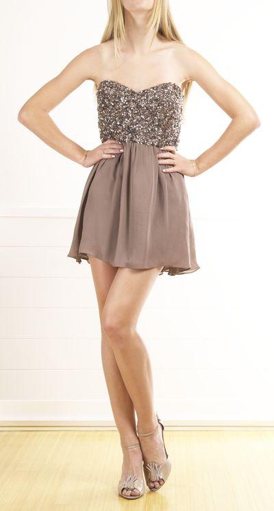 Parker Strapless Sequin Bodice Mini Party dress