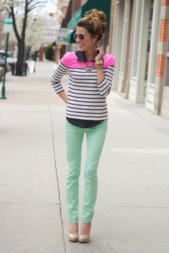 neon, mint, stripes, dots, collar- I want it all on top of the messy bun!
