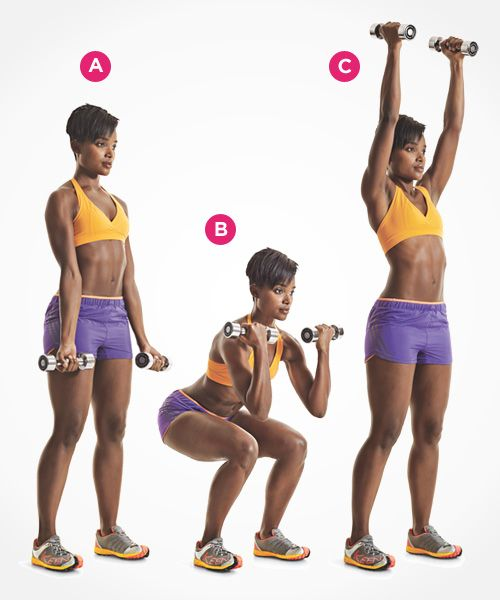 Tighten your core with the dumbbell curl to squat to press. Click through for directions PLUS 9 more ab exercises that beat crunches: www.womenshealthm...
