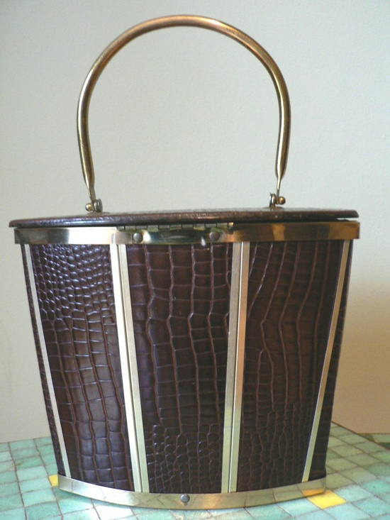 Vintage 1950s Goldstrom Alligator Leather & Bronze Lucite Purse