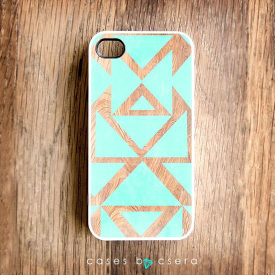 Unique iPhone Case - iPhone 4S Case, Wood iPhone Case, Mint $17,99, via Etsy.