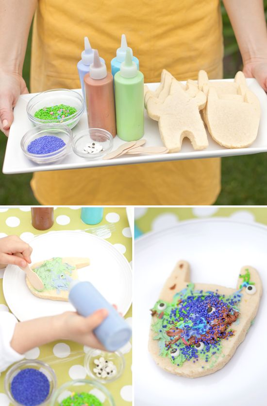 Monster Cookies: This fun food doubles as a party activity. Hand cut sugar cookies match the invitation.Instead of icing bags, try using squeeze bottles (from Michael's craft store). Mix food coloring gels in white frosting until you achieve the desired color–we matched ours to the party colors. Fill each bottle with a different colored frosting for party guests to use for decorating. Let them use leftover nonpareils and sprinkle eyes as decorations.