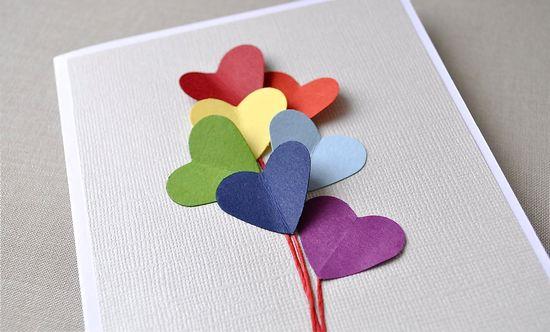 Love is in the air, rainbow heart balloon, blank card.  Anniversary, love, birthday greeting card. $5.00, via Etsy.