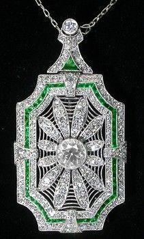 Art Deco Diamond, Platinum, & Emerald Pendant.