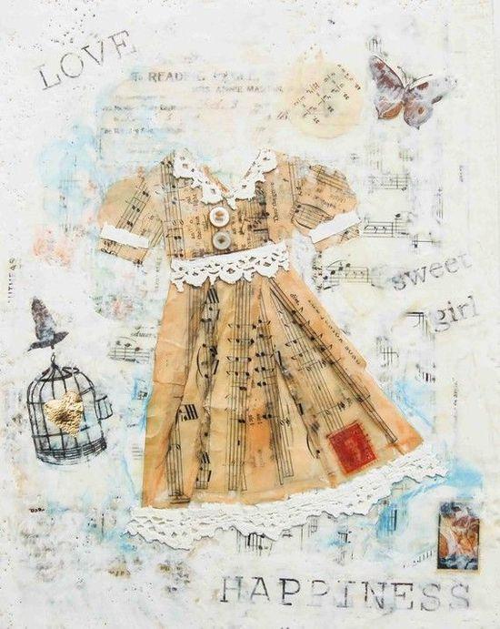 The PARTY DRESS Original Encaustic Mixed Media by susannajarian