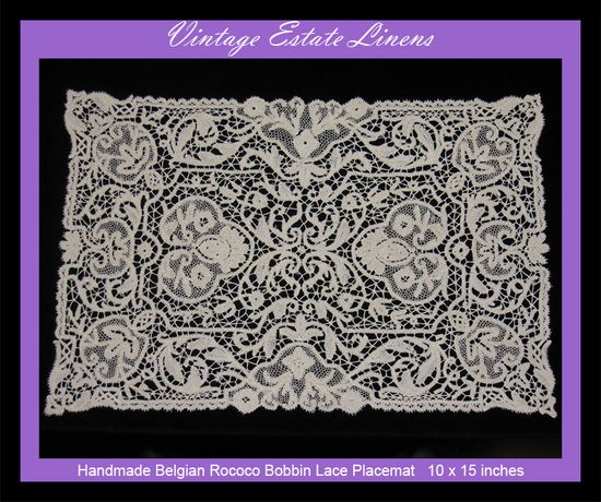 Hand made Belgium Rococo Bobbin lace placemat