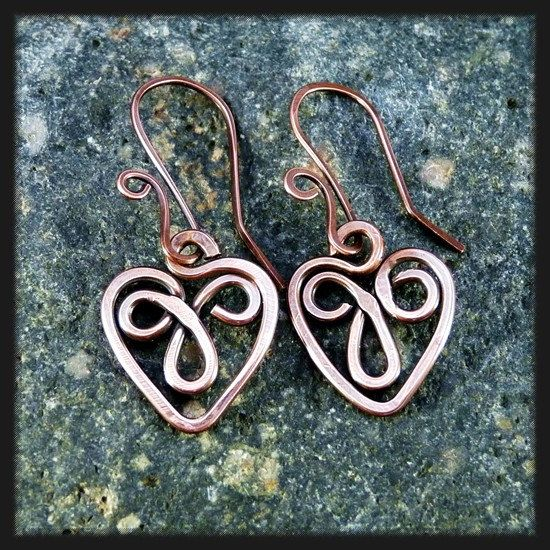 Celtic Heart Copper Wire Earrings.. $19.00, via Etsy.