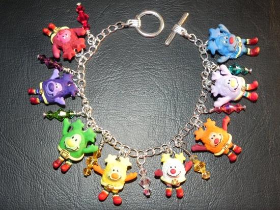 Retro 80s Cartoon Rainbow Brite Sprites Bracelet with Swarovski Jewels