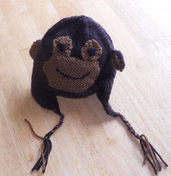 Baby Monkey Earflap Hat. Free Ravelry Pattern too!