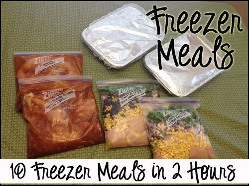 Make dinnertime easy with 10 Freezer Meals in 2 Hours -- many of these are freezer to crockpot.  I really want to try the chicken with corn and black beans for my next multiple freezer meal session...