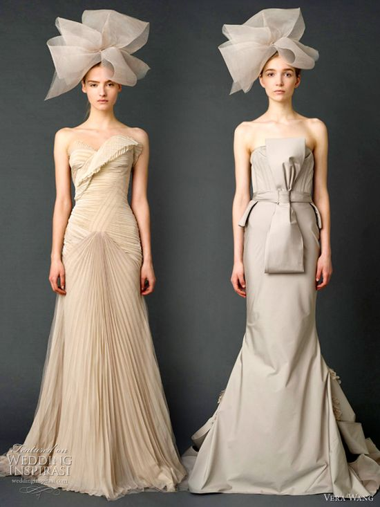 vera wang spring 2012 wedding dresses - Dusty rose strapless sweetheart soft mermaid gown with cascading French tulle and organza skirt and sunburst pleated bodice with grosgrain multi-bow sash, Stone strapless stretch faille mermaid gown with double bustier and multi-tiered, petal detailed back.