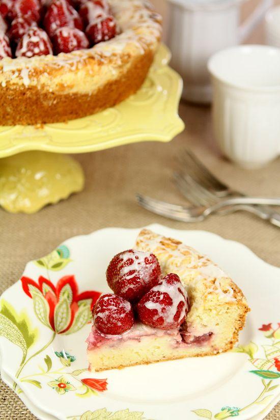 Strawberry Cream Cheese Coffee Cake with Fresh Strawberries