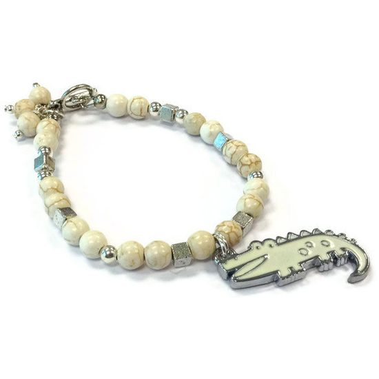 Alligator Bracelet White Turquoise Jewelry by prettylittlepretties, $21.00