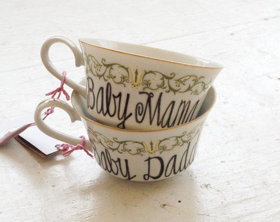 baby mama and baby daddy upcycled tea cups  by wandersketch, $34.00, these are hilarious. Would be cute gifts for new parents.