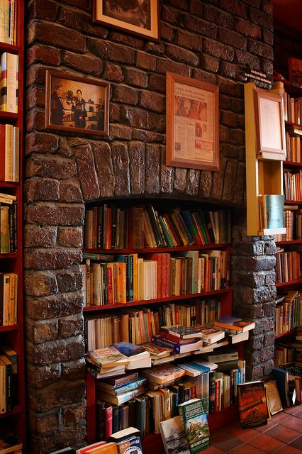 books in the fireplace! ? awesome.
