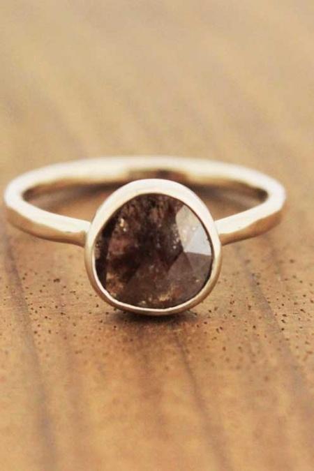 Deep Maroon & Black Diamond Slice Ring