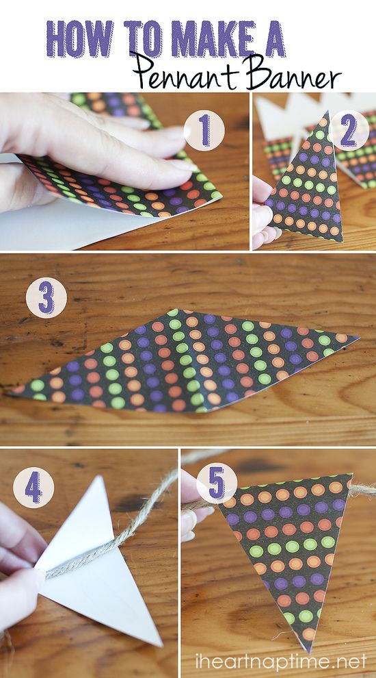 How to make a paper pennant banner #tutorial #crafts