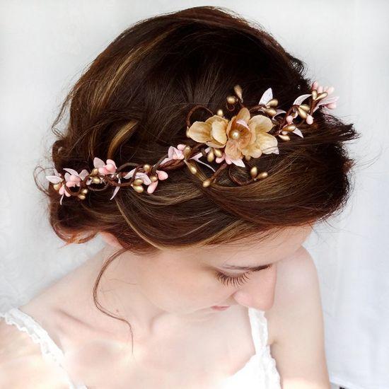 Love head pieces with pip berry  pink and gold bridal circlet, wedding flower headpiece, flower hair wreath - SERAPHIM - flower girl, wedding hair accessories. $72.00, via Etsy.