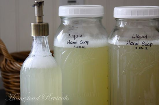 Here is a home made liquid hand soap that is not like a snot bomb.  It would work very well in a foam dispenser.  Made mine with ivory soap and vegetable glycerin from Mountain Rose Herbs.