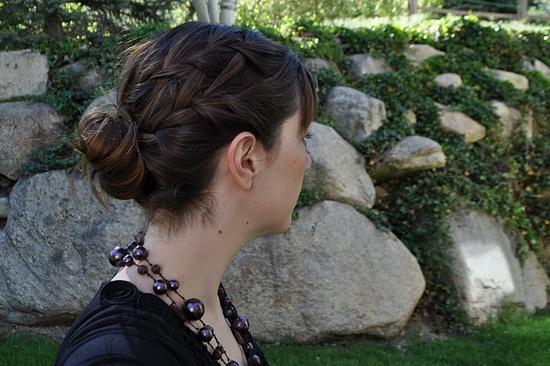 Waterfall braid with a bun
